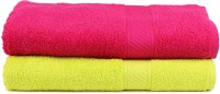 Trident Cotton Set of Towels(Pack of 2, Light Green, Pink)