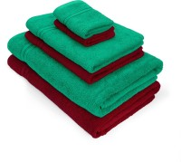 Swiss Republic Cotton Bath, Hand & Face Towel Set(Pack of 6, Green, Red)