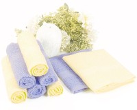 Bianca Cotton Face Towel Set(Pack of 8, Yellow, Skyblue)