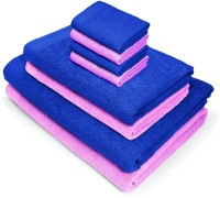 Swiss Republic Cotton Bath, Hand & Face Towel Set(Pack of 8, Blue, Rose Pink)