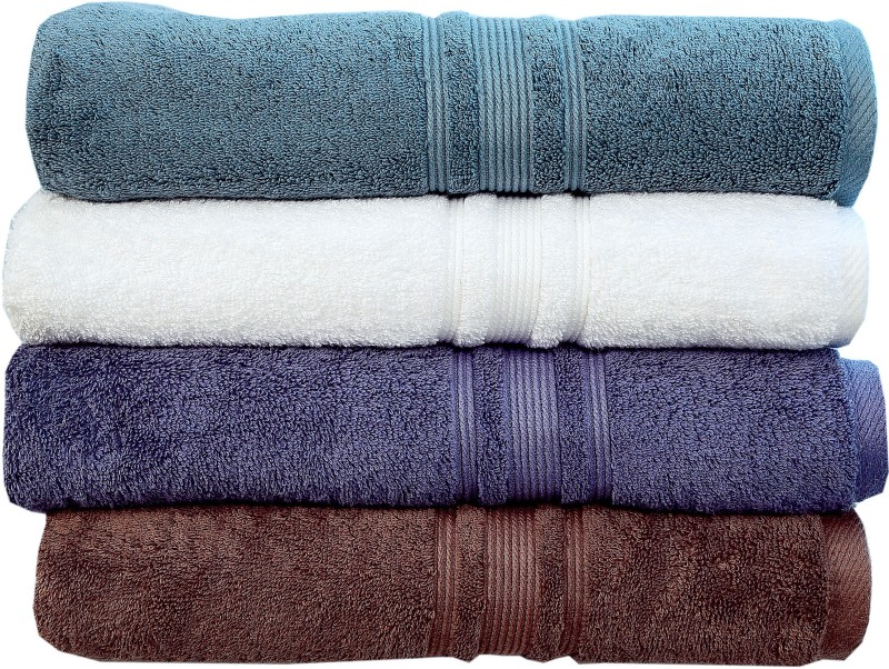 Rakshan Cotton Bath Towel Set(Pack of 4, Grey, White, Blue, Grey)