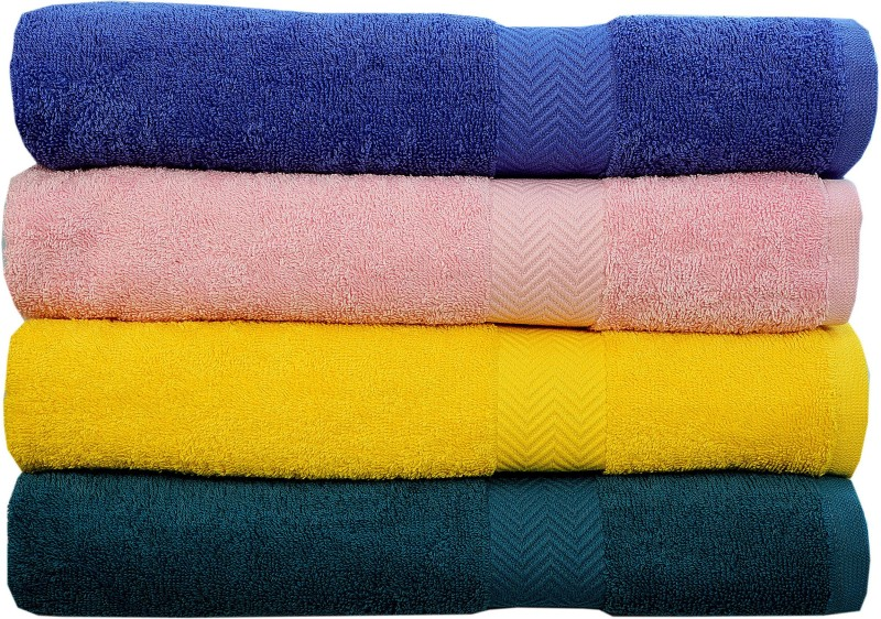 Rakshan Cotton Bath Towel Set(Pack of 4, Royal Blue, Baby Pink, Yellow, Blue)