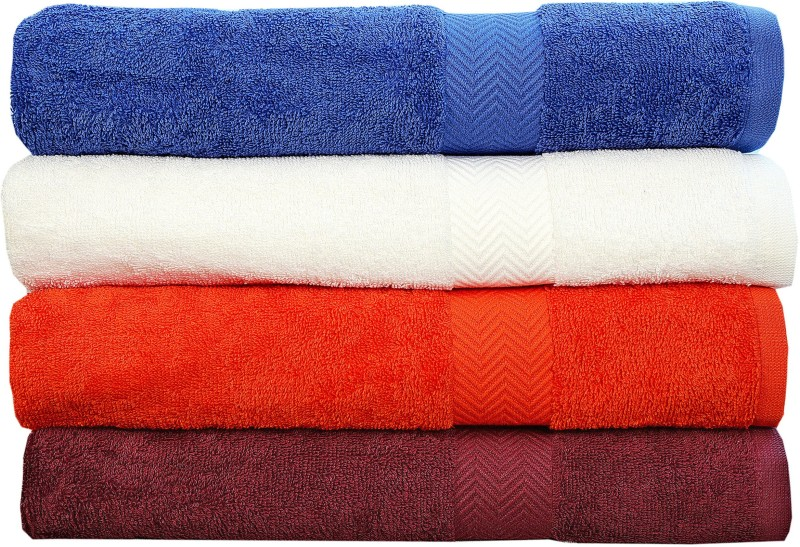 Rakshan Cotton Bath Towel Set(Pack of 4, Blue, White, Orange, Maroon)