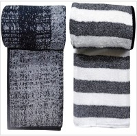Bombay Dyeing Cotton Bath Towel Set(Pack of 2, black and white)