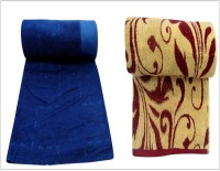 Bombay Dyeing Cotton Set of Towels(Pack of 2, BLUE-brown)
