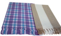 Sathiyas Cotton Set of Towels(Pack of 2, Lavender, Brown)