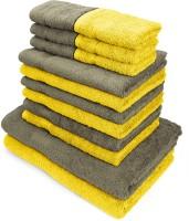 Swiss Republic Cotton Bath, Hand & Face Towel Set(Pack of 14, Light Brown, Yellow)