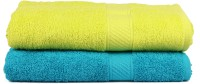 Trident Cotton Set of Towels(Pack of 2, Blue, Light Green)