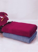 Bianca Cotton Bath Towel Set(Pack of 2, Burgundy, Skyblue)