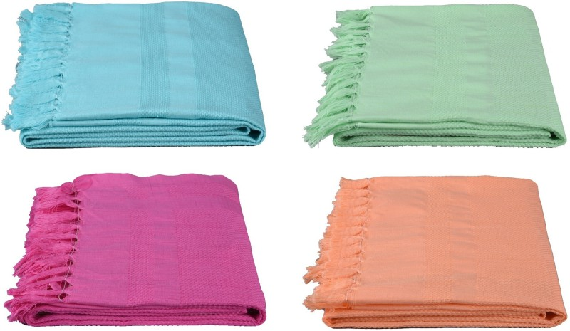 Olivee Cotton Bath Towel(Pack of 4, Green)