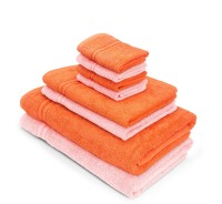 Swiss Republic Cotton Bath, Hand & Face Towel Set(Pack of 8, Orange, Light Pink)
