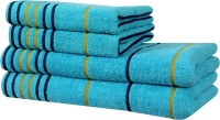 Akin Cotton Bath & Hand Towel Set(Pack of 4, Blue)