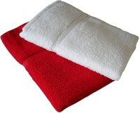 Snuggle Cotton Bath Towel Set(Pack of 2, Red, White)