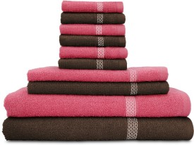 Swiss Republic Cotton Bath, Hand & Face Towel Set(Pack of 10, Dark Brown, Dark Pink)