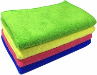 Softspun Microfiber Multi-purpose Towel(Pack of 4, Yellow, Multicolor)