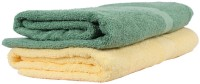 Trident Cotton Set of Towels(Pack of 2, Yellow, Green)