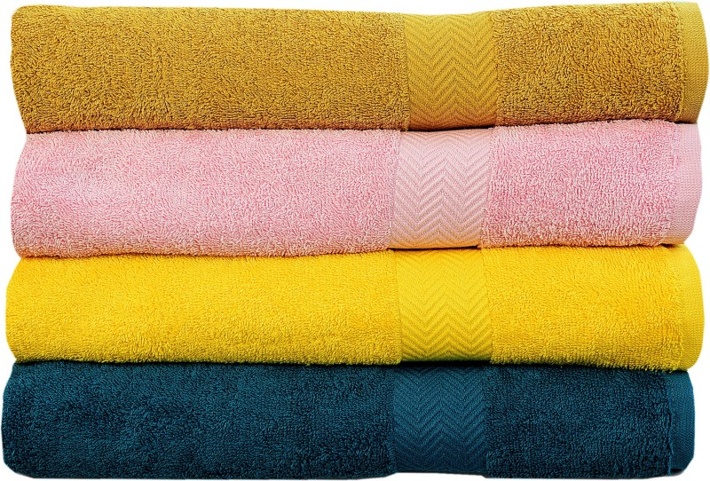 Rakshan Cotton Bath Towel Set(Pack of 4, Dark Yellow, Baby Pink, Yellow, Blue)