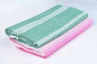 Sathiyas Cotton Bath Towel(Pack of 2, Green, Pink)
