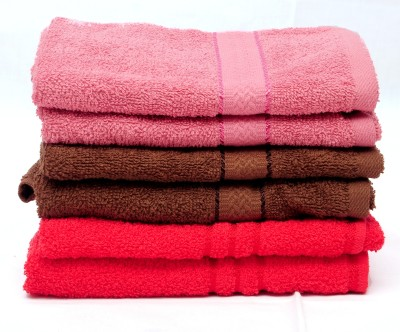 The Home Story Pink, Brown, Red Set of 6 Napkins