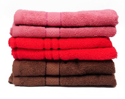 The Home Story Pink, Red, Brown Set of 6 Napkins