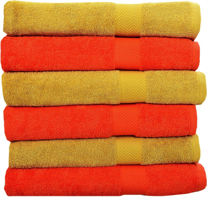 Rakshan Cotton Bath Towel Set(Pack of 6, Yellow, Orange)