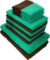 Swiss Republic Cotton Bath, Hand & Face Towel Set(Pack of 14, Green, Dark Brown)