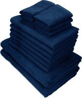 Swiss Republic Cotton Bath, Hand & Face Towel Set(Pack of 14, Dark Blue, Dark Blue)
