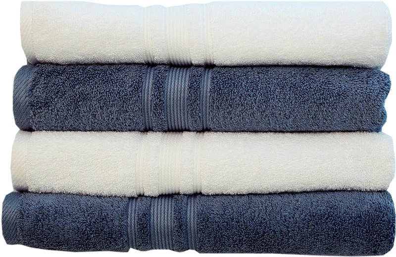 Rakshan Cotton Bath Towel Set(Pack of 4, White, Grey)