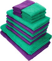 Swiss Republic Cotton Bath, Hand & Face Towel Set(Pack of 14, Green, Purple)