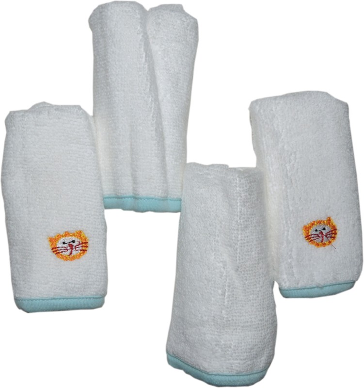 MicroCotton Cotton Face Towel(Pack of 4, White)