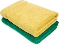 Swiss Republic Cotton Bath Towel(Pack of 2, Green, Light Brown)