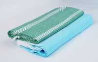 Sathiyas Cotton Bath Towel(Pack of 2, Green, Blue)