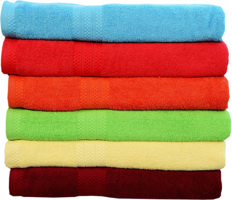 Rakshan Cotton Bath Towel Set(Pack of 6, Blue, Red, Orange, Green, Cream, Maroon)
