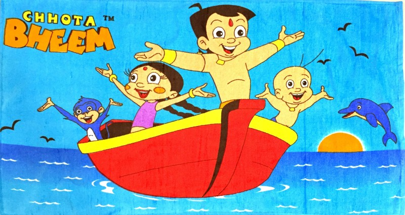 Chhota Bheem Cotton Bath Towel(Blue)