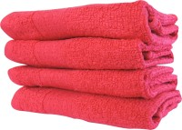MicroCotton Cotton Face Towel(Pack of 4, Red)
