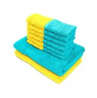 Swiss Republic Cotton Bath & Face Towel Set(Pack of 14, Light Blue, Yellow)