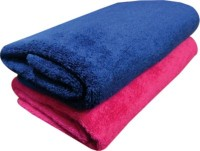 Marwal Cotton Bath Towel(Pack of 2, Blue, Pink)