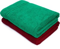 Swiss Republic Cotton Bath Towel(Pack of 2, Green, Red)