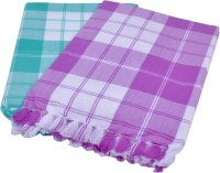 Sathiyas Cotton Bath Towel(Pack of 2, Green, Lavender)