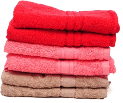 The Home Story Red, Pink, Brown Set of 6 Napkins