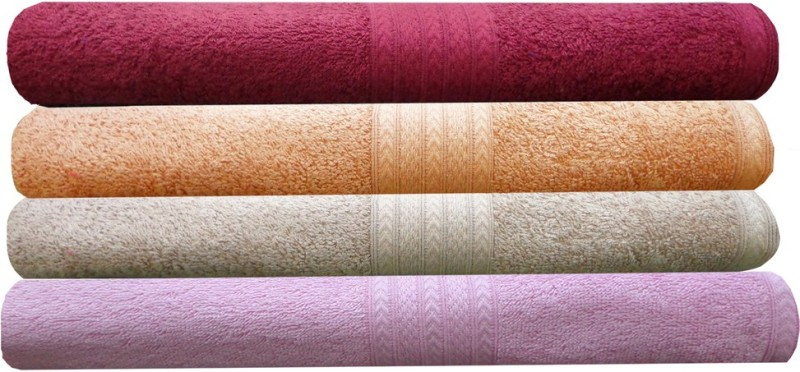 India Furnish Cotton Bath Towel(Pack of 4, Multicolor)