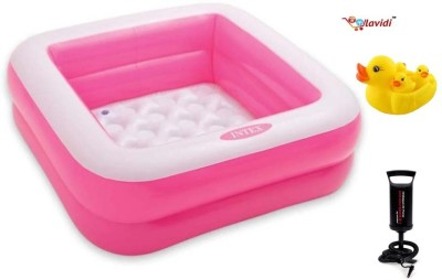 Lavidi Combo of High Quality Plastic Bathing Tub with Air Pump & Duck Family Bath Toy