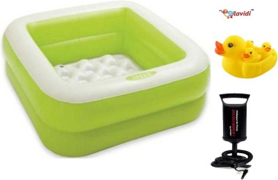 Lavidi Intex Square Plastic Bathing Tub with Pump & Duck Family toy for kids Bath Toy