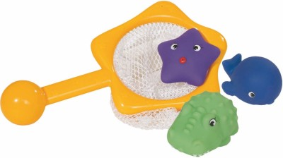 Simba Abc Fishing Net with 3 Pcs Vinyl Squirt Animals Bath Toy