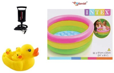 Lavidi Combo of Both tub with Air Pump & Duck Family Bath Toy