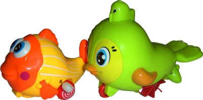 Brunte Humored Bird And Waggling Fish Set Bath Toy