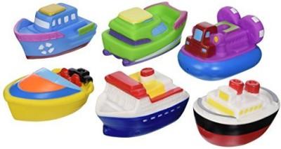 Elegant Baby Time Fun Rubber Water Squirties Vinyl Zip Storage Bag, Boat Party, Set of 6 Bath Toy