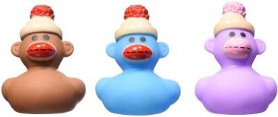 Fun Express Sock Monkey Rubber Ducks Bath Toy