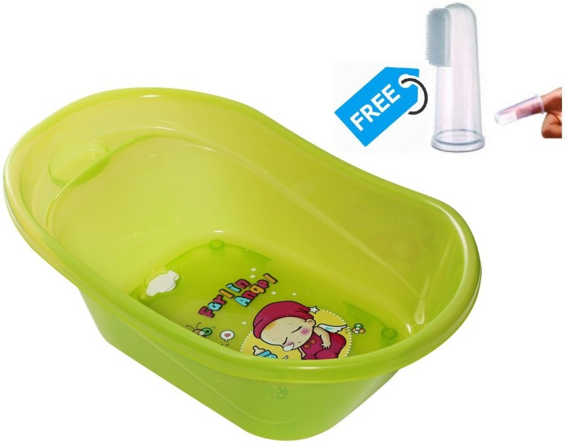 Farlin Baby Angel Bath Tub With Finger Type Toothbrush(Green)