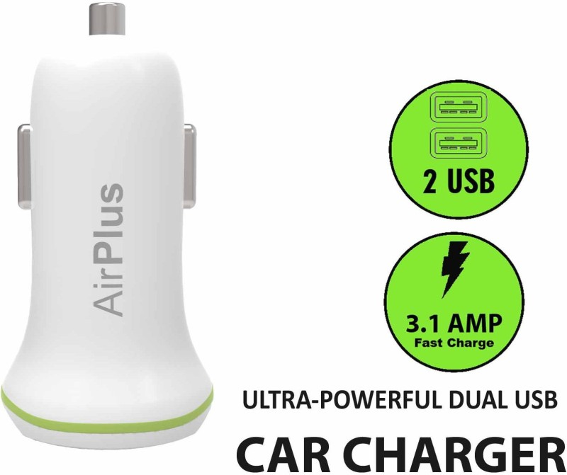 Airplus Universal Car Charger Adapter Dual USB 2.1A+1.0 Amp (Total 3.1A) Mobile Charger(White)
